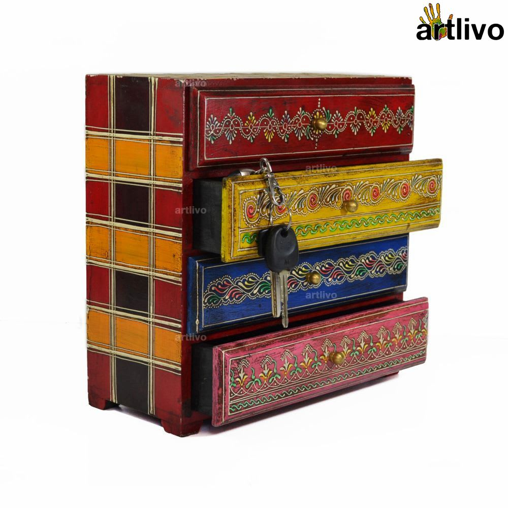 EMBOSSED 4 Drawer Multicolor Utility Box