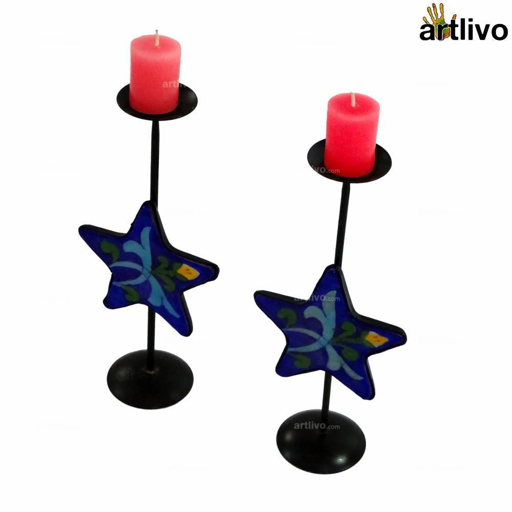 Blue Star Candle Set