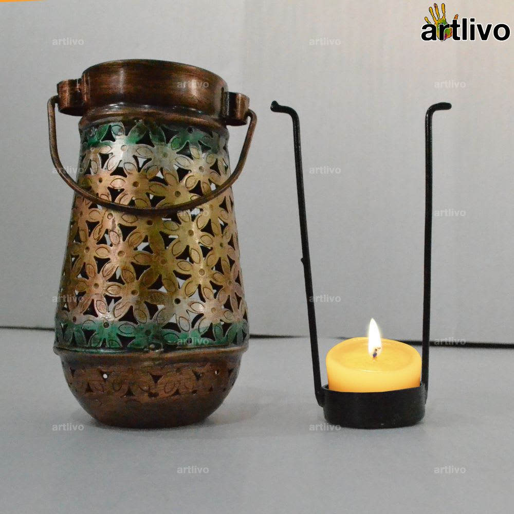 Glass shaped Jaali Metallic Candle Holder with tea cup holder tray