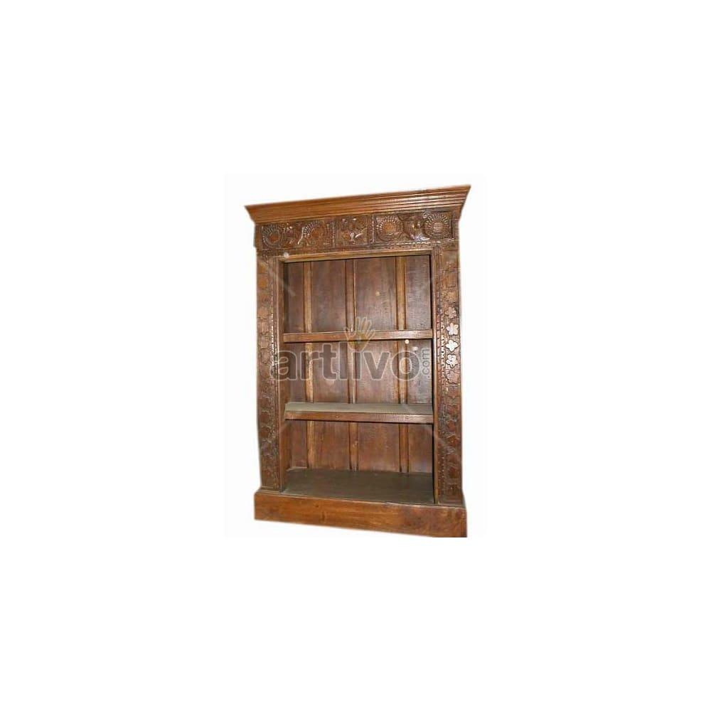 Antique Indian Sculpted Deluxe Solid Wooden Teak Bookshelf