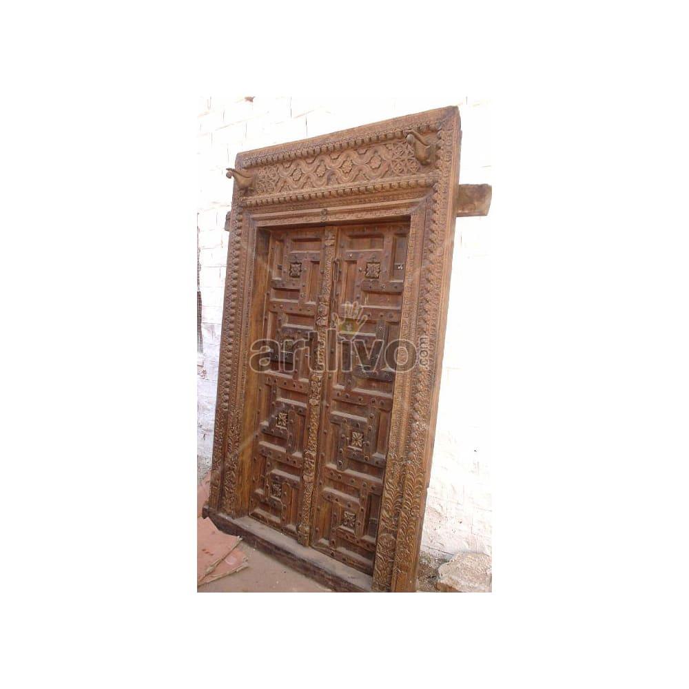 Vintage Indian Carved Lavish Solid Wooden Teak Door