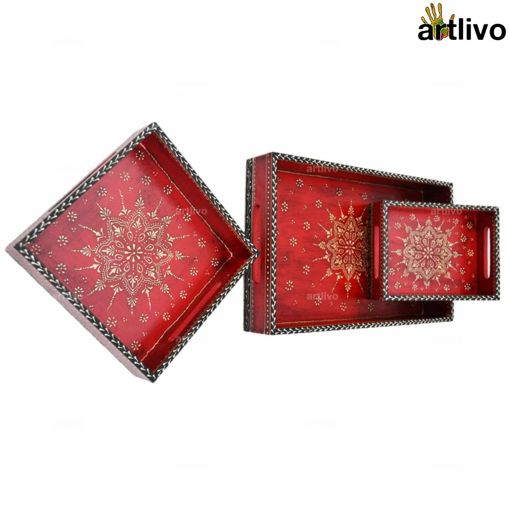 BOLD RED 3pc Tray Set 2014