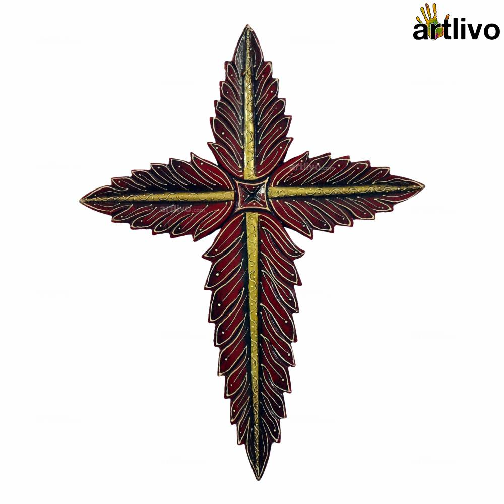 BOLD RED Leaves Styled Cross