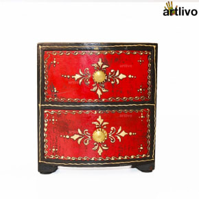 BOLD RED 2 Drawers Dual Color Utility Box
