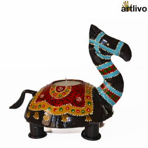 Handpainted Camel Black Candle Holder