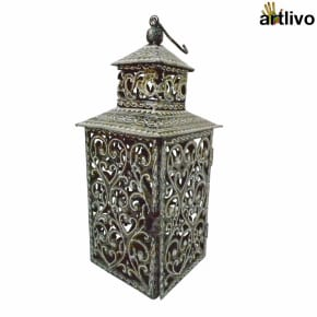 Square Black & White Metallic Hanging Lantern