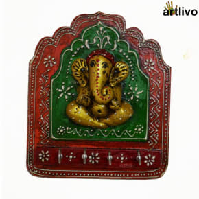 Ganesha Key Hooks (orange green golden)