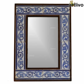 22 Inches Blue Lagoon Handcrafted Tile Mirror Frame
