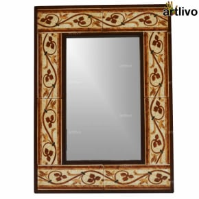 "22"" Decorative Bathroom Wall Hanging Tile Mirror Frame - MR031"