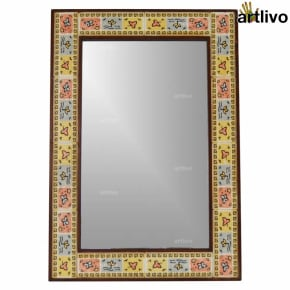 32 Inches Colorful Wall Hanging Decorative Tile Mirror Frame