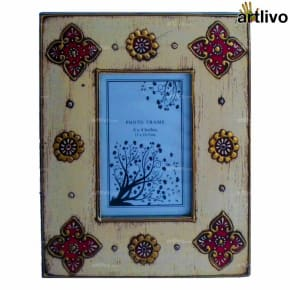 EMBOSSED Ivory Floral Photo Frame