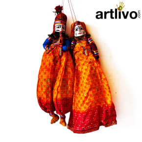 POPART Yellow Chundari With Red Boder Kathputli Puppet 20""