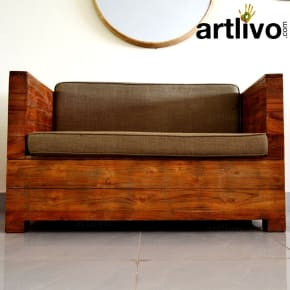 Teak Two seater Sofa