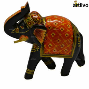 POPART Wooden Decorative Elephant Showpiece - Floral