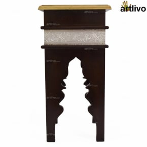 Moroccan Stool Brown-with aluminum strip