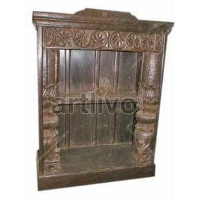 Antique Indian Sculpted Royal Solid Wooden Teak Bookshelf