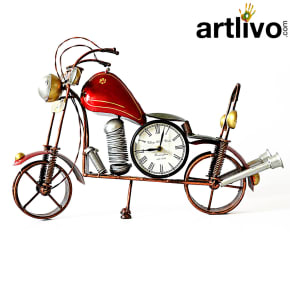 "POPART Red Bike Table Clock With 4"" Dail"