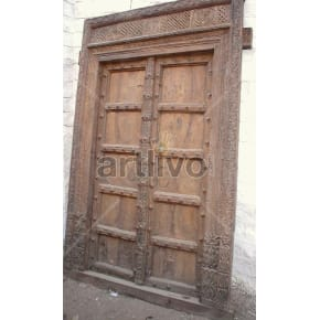 Vintage Indian Carved Noble Solid Wooden Teak Door