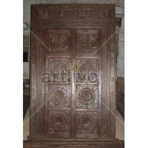 Vintage Indian Brown Lavish Solid Wooden Teak Door