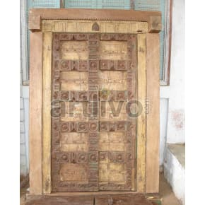 Vintage Indian Brown Magnificent Solid Wooden Teak Door