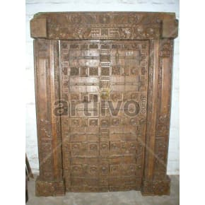 Vintage Indian Chiselled Extravagant Solid Wooden Teak Door