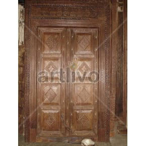 Vintage Indian Chiselled Noble Solid Wooden Teak Door