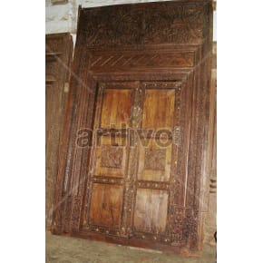 Vintage Indian Engraved Deluxe Solid Wooden Teak Door