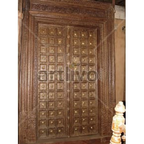 Vintage Indian Engraved Aristocratic Solid Wooden Teak Door