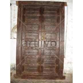 Vintage Indian Engraved Noble Solid Wooden Teak Door