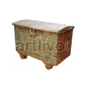 Vintage Indian Beautiful Unique Solid Wood Rustic look Trunk