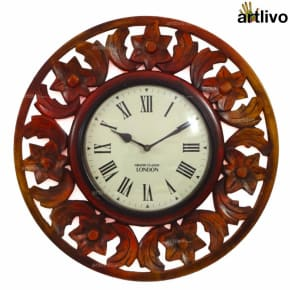 Wooden Carved Round Wall Clock 16""
