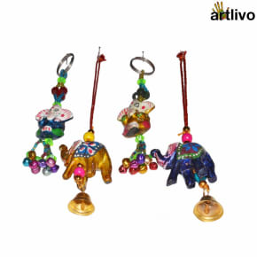 POPART Combo of Ganesha Key Chain and elephant Hanging - Set of 4