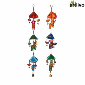 POPART Elephant & Birds with hut Windchime style Wall Hanging - Set of 2