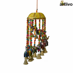 "POPART Elephant Jhoomar with bells and 4"" basket - Yellow"