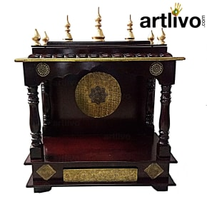 Wooden Dome Temple Brown Color Brass Work with Drawer