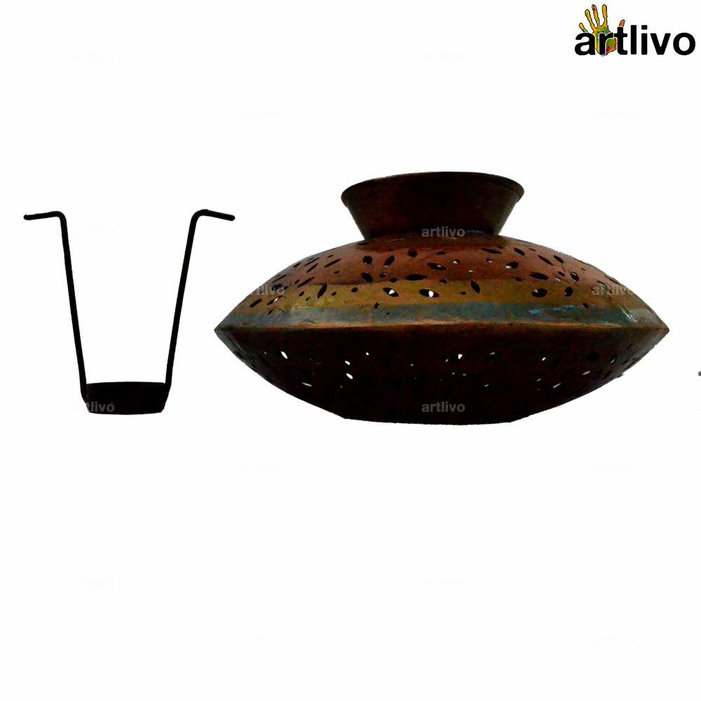 Handi Style Jaali Metallic Candle Holder with tea cup holder tray