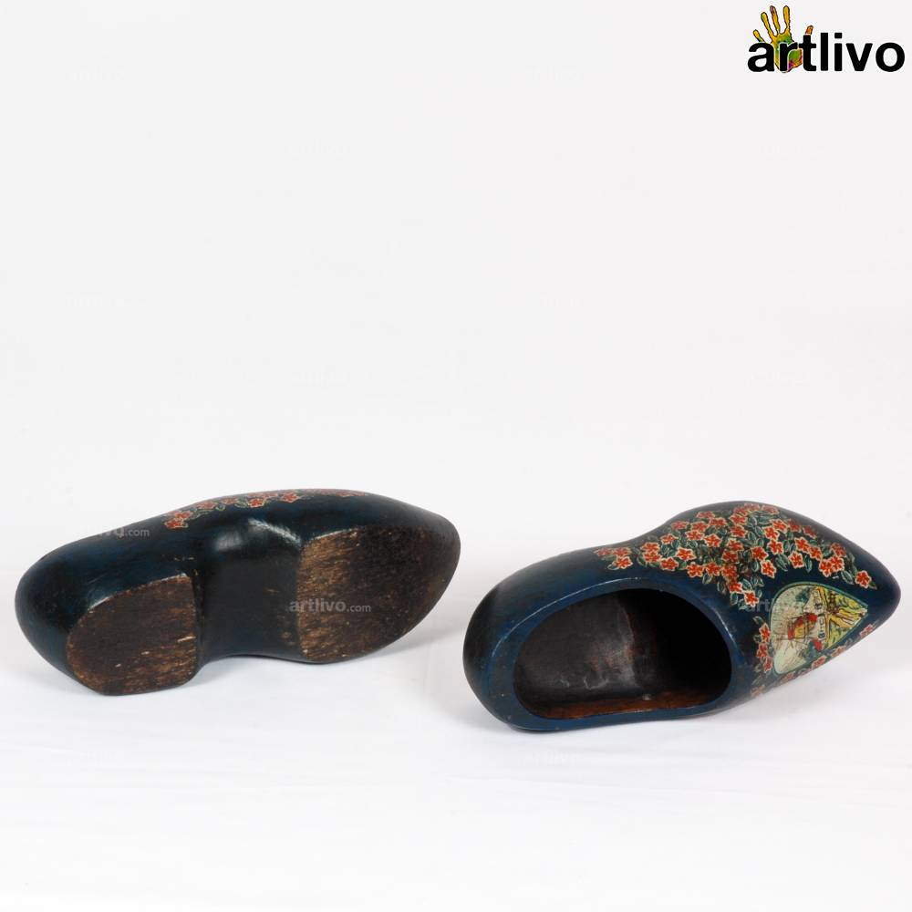 VINTAGE Sweden Blue Chinese Wooden Shoes