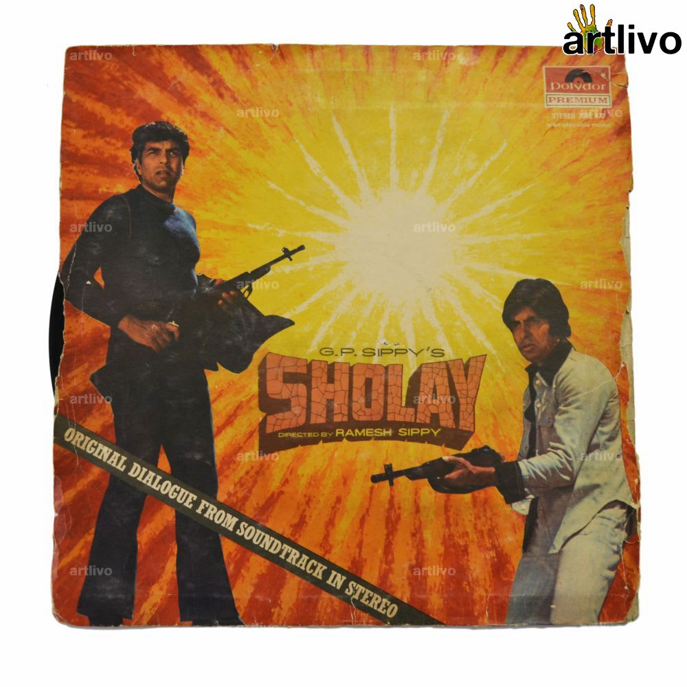 VINTAGE Gramophone Record - Sholay (With Cover)