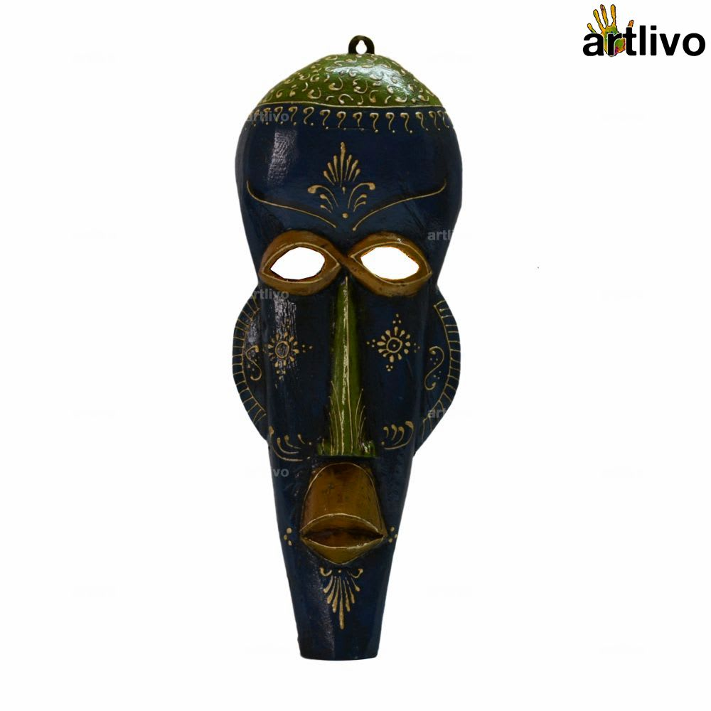 EMBOSSED Blue Tapered Human Face Mask
