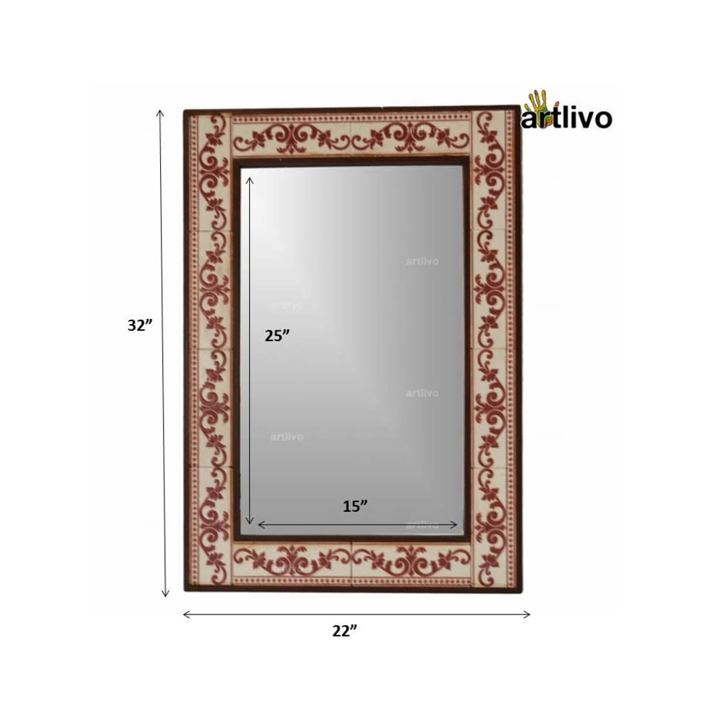 "32"" Decorative Panel Wall Hanging Tile Mirror Frame"