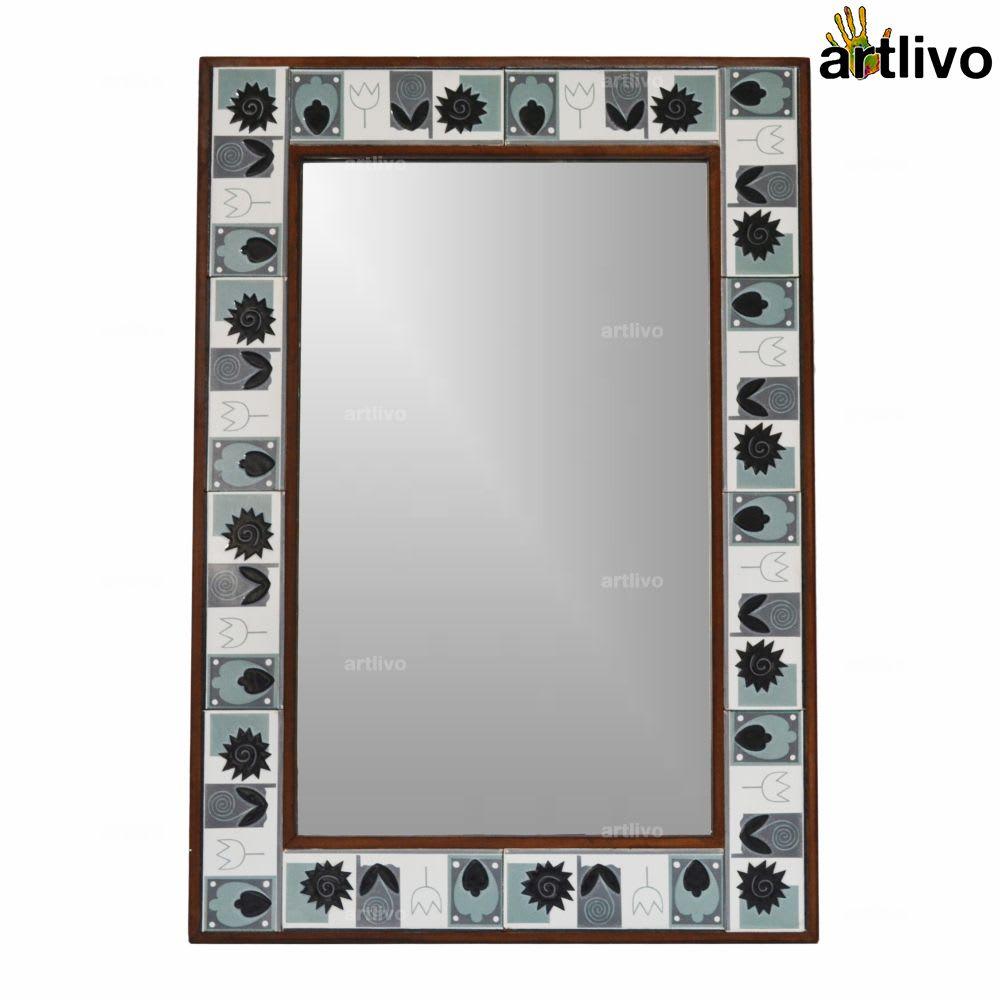 Large Black & White 32 Inches Designer Wall Hanging Tile Mirror Frame