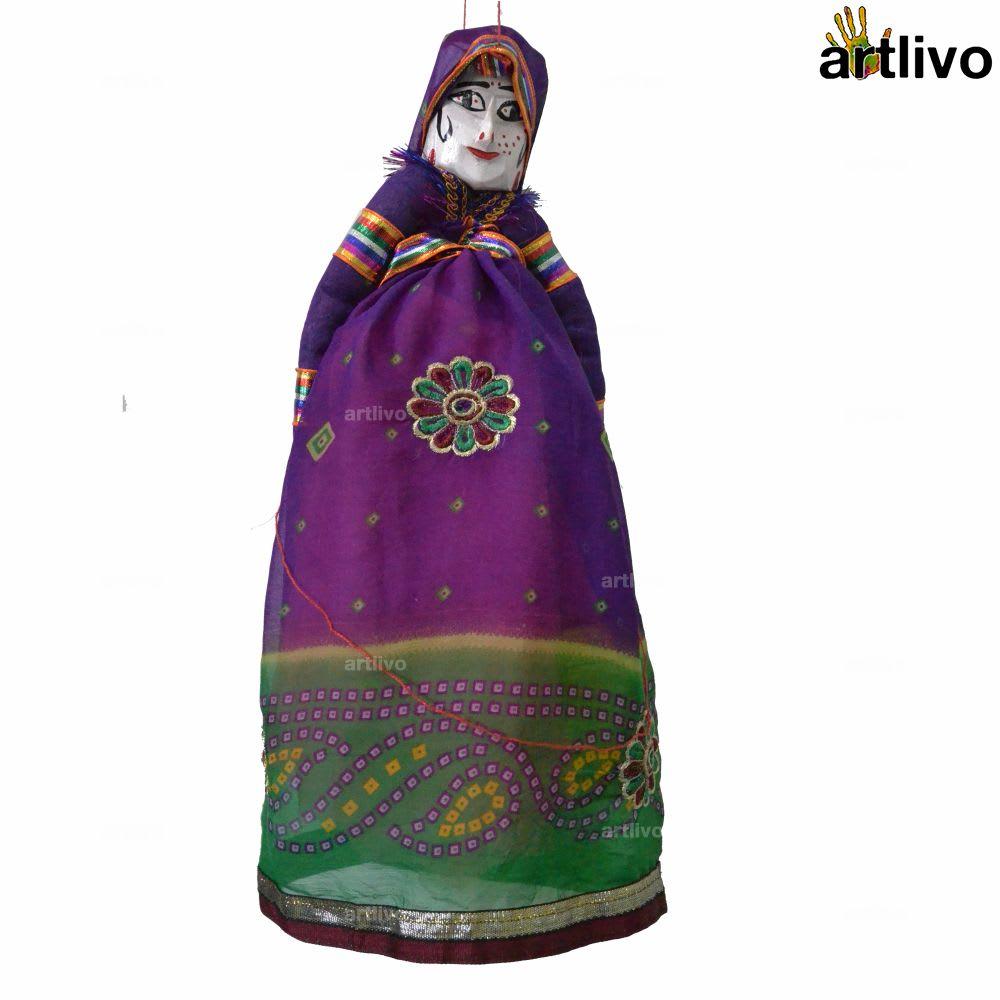 """POPART Violet Floral Kathputli Puppet Set 20"""""""