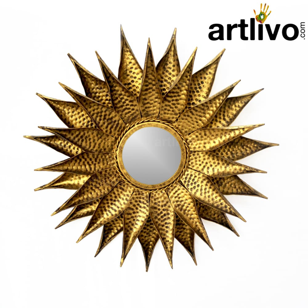 Iron flower design mirror frame golden