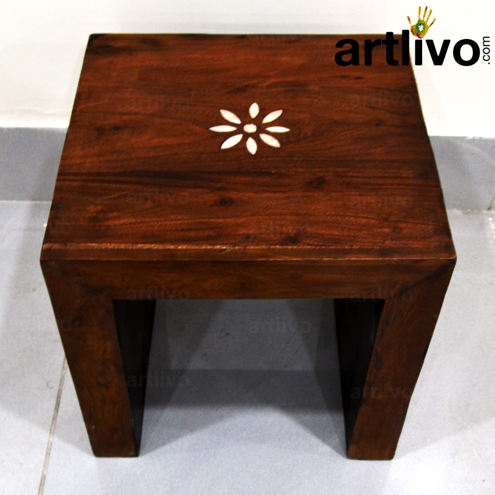 Wooden stool with brass work