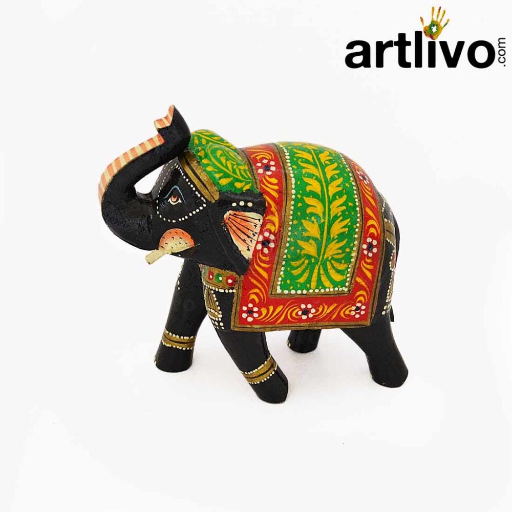 POPART Multicolor Wooden Elephant Statue Table Decor - ST095