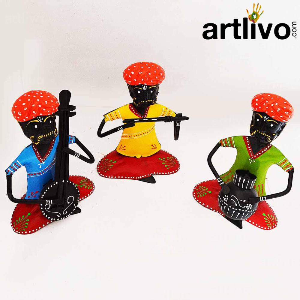 Metal Rajasthani Musician Set Of 3