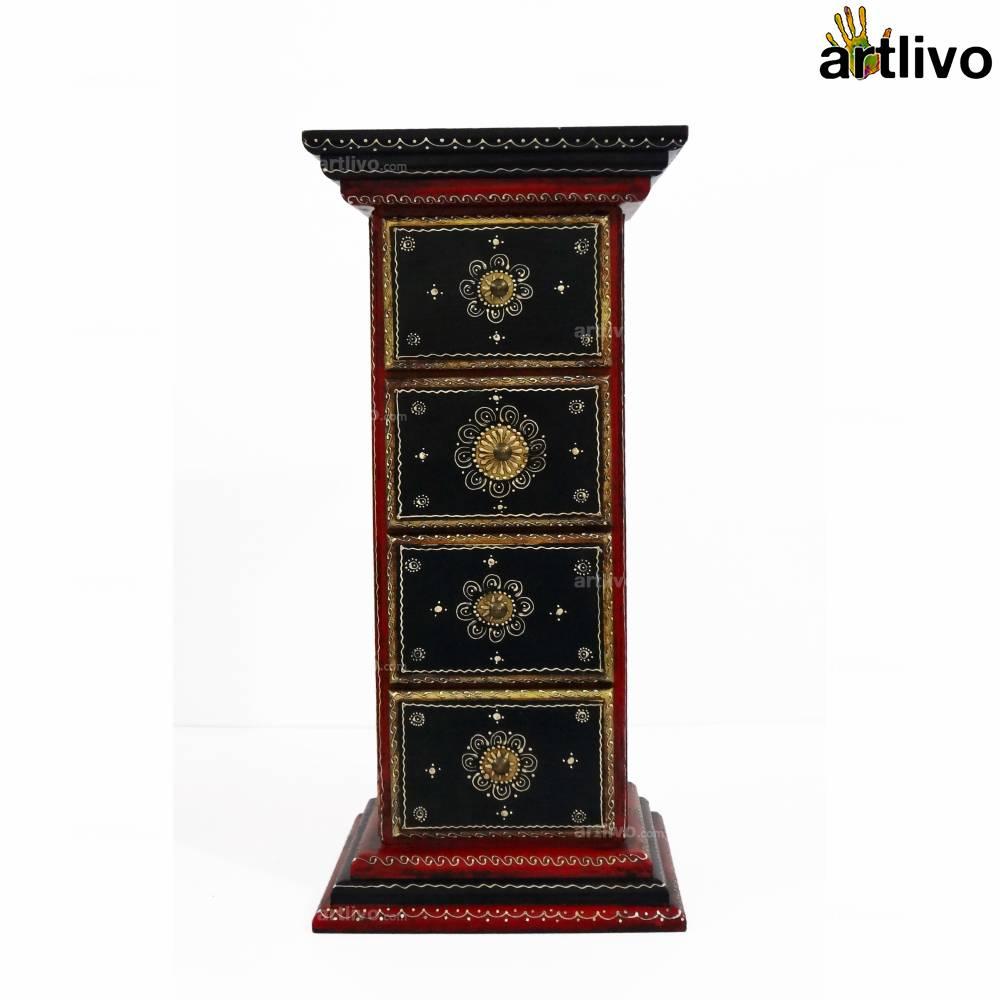 4 Drawer Pillar Table - Red