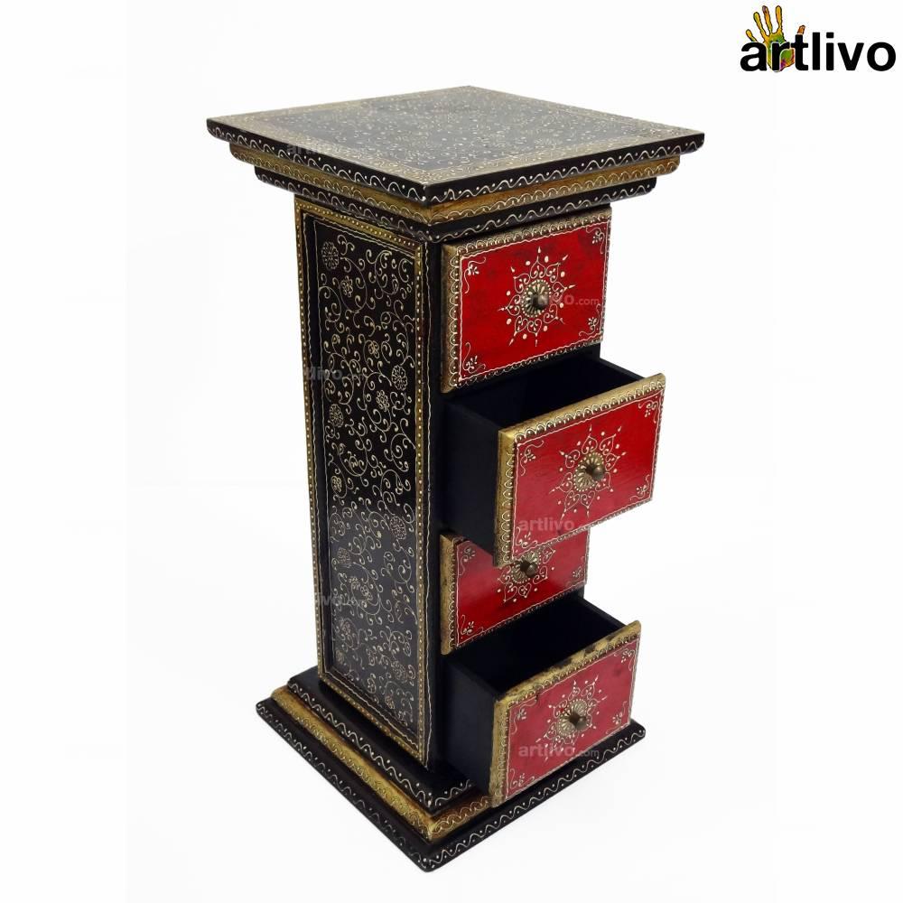 4 Drawer Pillar Table - Black