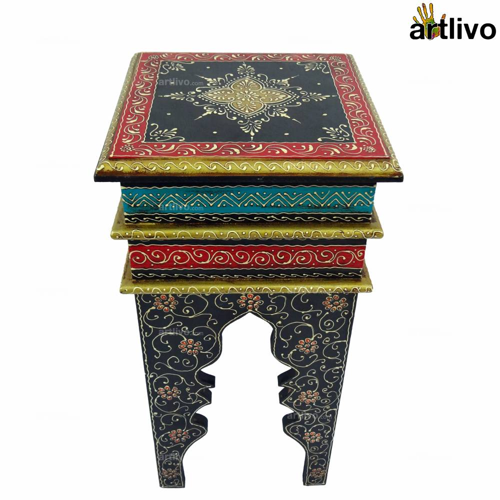 Moroccan Stool Painted-Black