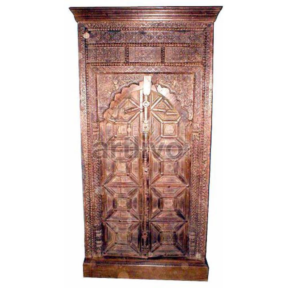 Vintage Indian Sculpted imperial Solid Wooden Teak Almirah